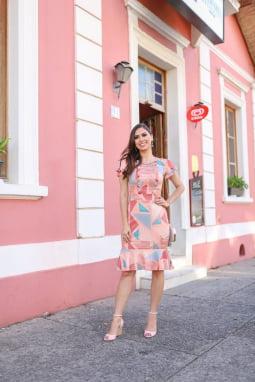 VESTIDO TUBINHO DE MALHA ESTAMPADO - ROSA PINK 11890
